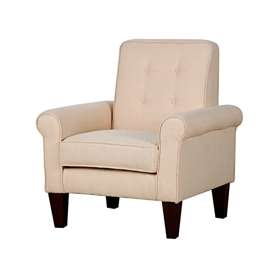 "HomCom Modern Upholstered Linen Tufted Accent Club Arm Chair - Cream White - ✅MODERN LEISURE DESIGN: This contemporary accent club chair features a textured and tufted linen fabric in cream white, a wide seat cushion, slightly tapered tufted back, and comfortable armrests. ✅TUFTED BACKREST: A padded backrest with minimal tufting provides complete comfort and support for a truly relaxing seating experience in your living room, den, or office space. ✅PLUSH AND UPHOLSTERED: Featuring an extra wide seat plush with 6.25"" thick, high-density foam covered with a soft and breathable linen fabric, this chair is not only good looking, it's comfortable too. - living-room-furniture, living-room, accent-chairs - 41KC1y3bSUL. SS570  -"