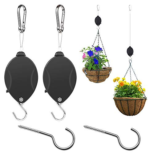Senignol Plant Pulley, 2 Pack Retractable Hanger Hanging Plants Flower Basket Bird Feeders Adjustable Plant Pulley Hanger with 2 Ceiling Hooks(Black)