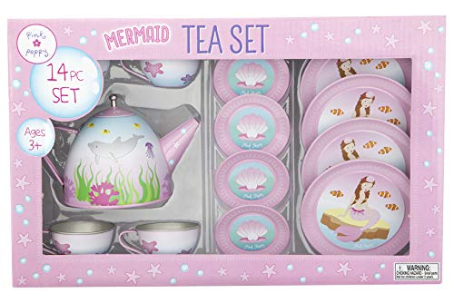 Pink Poppy Mystic Mermaid Tin Tea Set- Pale Pink]()