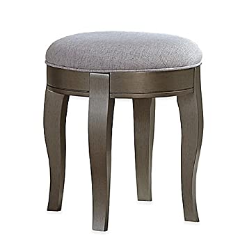 Tremendous Amazon Com Kensington Vanity Stool In Antique Silver Brown Unemploymentrelief Wooden Chair Designs For Living Room Unemploymentrelieforg