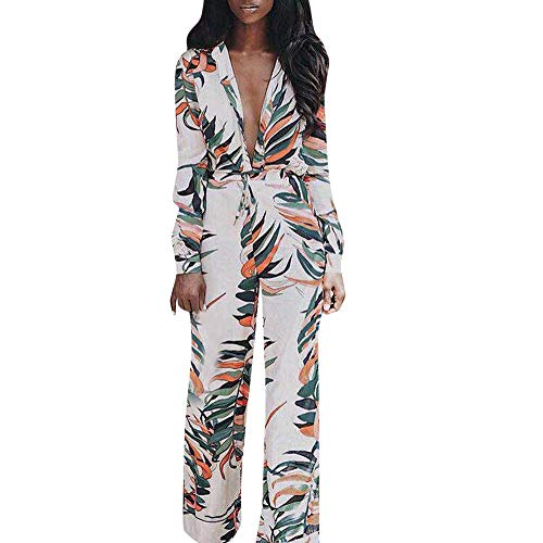 SSYUNO Women Sexy V-Neck Floral Leaf Printed Long Sleeve Casual Wide Leg Loose Playsuit Jumpsuit White ()