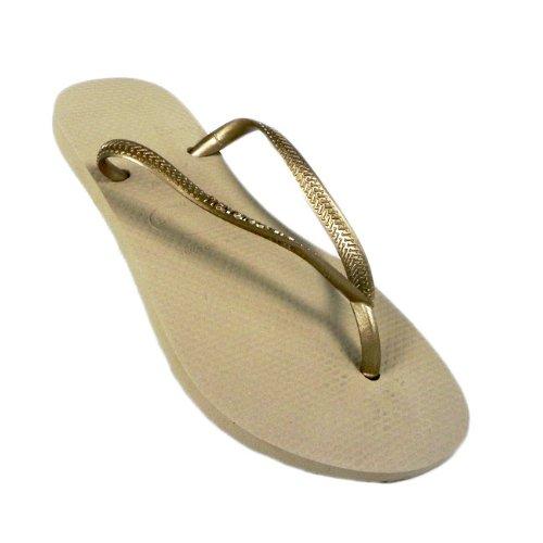 Havaianas - Sandalias de vestir de goma para mujer plateado - dorado