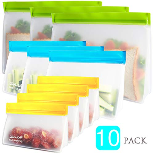 Stand-Up Reusable Sandwich Bags (Set of 10) - Reusable Snack Bags For Kids. Premium Reusable Ziplock Bag for Food Storage Reusable Lunch Bags for Women Lunch Baggies Are Freezer Safe