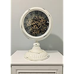 Shaba Designs Vintage Pocket Watch Style Table Clock - With Retro Distressed Iron and Artesian Pedestal with real Moving Gears (white)