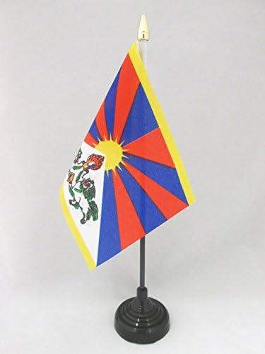 Tibet Tafelvlag 15x10 cmTibetaansBoeddhistische Bureaivlag 15 x 10 cmgouden speerbladAZ FLAG