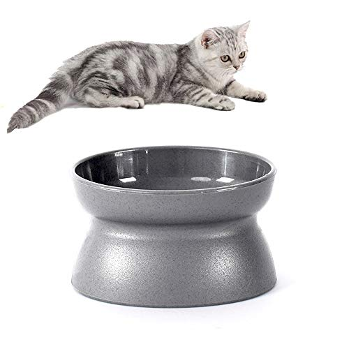 Lovinouse Upgraded Double Sided Pet Bowl, Slanted Raised Cat Food Bowl, Stress Free, Backflow Prevention, Easy to Clean, for Dogs and Cats(Dark Gray)