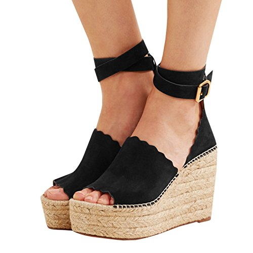 Enjoybuy Womens Platform Espadrille Wedges Peep Toe High Heel Sandals With Ankle Strap Buckle Up (Peep Toe Wedge Platform Heels)