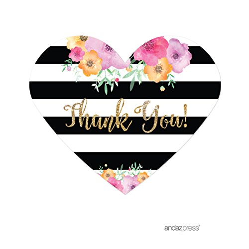 Andaz Press Floral Gold Glitter Print Wedding Collection, Mini Heart Label Stickers, Thank You, 75-Pack (Gold Floral Heart)