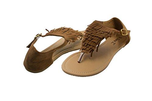 Sara Z Womens Microsuede Fringe T Strap Thong Sandal Size 7/8 Cognac - Fringe T-strap Sandals