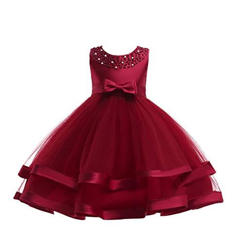 (JIANLANPTT Flower Girl Dresses Beading Round Neckline Sleeveless Knee Length Tiered Layered Ball Gown 3-4 Years Wine Red 1)