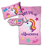 sleeping bag - Jay Franco Nickelodeon JoJo Siwa 3 Piece Sleepover Set - Cozy & Warm Kids Slumber Bag with Pillow & Eye Mask - Featuring JoJo Siwa Unicorn (Official Nickelodeon Product)