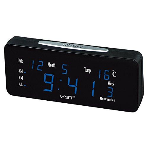 Bluelover VST St-1 12/24 Ore Ad Alta Voce con Doppia Sveglia Automatica Luminosità con Lettere Grandi Display Elettronico della Temperatura Orologio da Tavolo – Blu Prezzi
