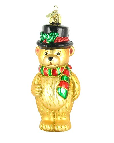 Old World Christmas Top Hat Teddy Bear Glass Blown Ornament - Top Hat Blown Glass Ornament