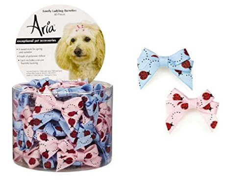 Dog Puppy Grooming Bow Aria Canister of 40 Barrettes Lady Bug 2