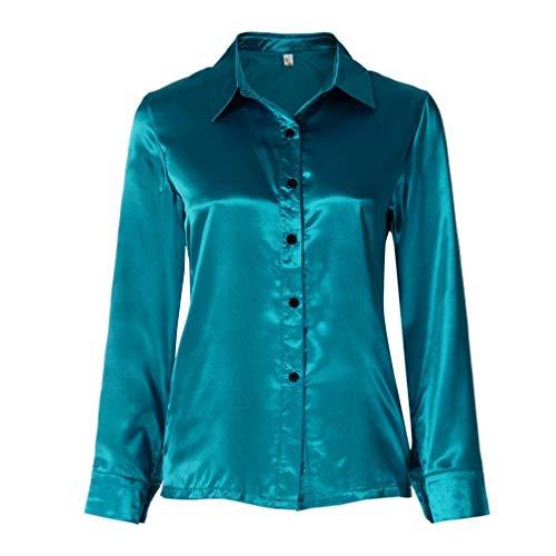 LianMengMVP en DContracts Chemisier Femme Femmes Blouse Bouton Pulls Chemise Vert Longues Manches Soie LMMVP Hauts rxrfYZ