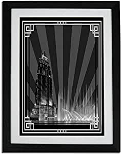 Address Hotel Down Town- Black And White With Silver Border No Text F01-m (a5) - Framed