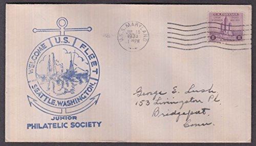 USS Maryland BB-46 cancel Welcome Fleet to Seattle cachet envelope #2 1933