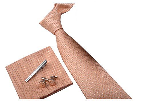 Ysiop Formal Neck Ties Clips Pocket Square and Cufflinks Set for Business Men (W Hotel Halloween Event)