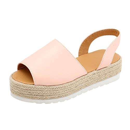 Tantisy ♣↭♣ Summer Women Flat Shoes/Peep Toe Play Form Woven Thick-Bottom Sandals/Roman Shoes/Flip Flops Pink
