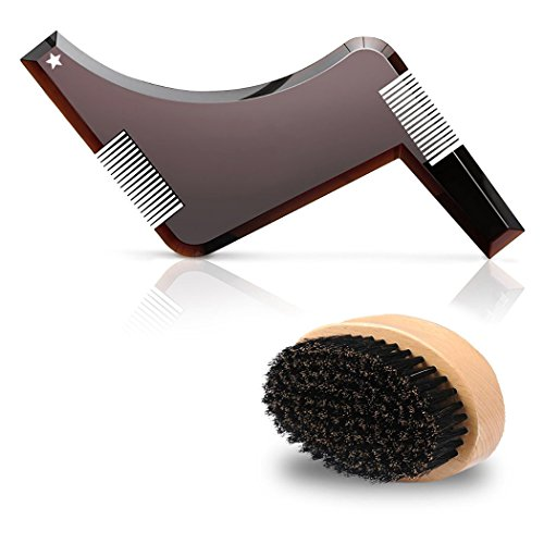 Wild Boar Bristles Beard Brush with Beard Shaping Template Comb Tool Kit for Multiple Mordern Beard Style and Easy Grooming – Facial Care Hair Comb for beards' styling and - Styles Beard Round Face