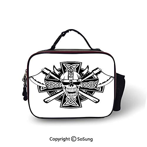 Celtic Insulated Lunch Cooler Bag Celtic Skull Knight with Cross Axes and Knives Medieval Europe Iron Age Graphic Fashion model Lunch Tote,10.6x8.3x3.5 inch,Black White
