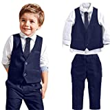 4pcs/Set Baby Boys Gentleman Formal Wear Wedding Suits Shirt Vest Pants Tie (1-2 Years Old, Blue)