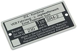 Typenschild SR4-2 Aluminium ***