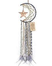 Dremisland Blue Dream Catcher Handmade Half Circle Moon Design Dream Catcher Feather Hanging with Star Home Decoration Ornament Festival Gift (Moon& Star)