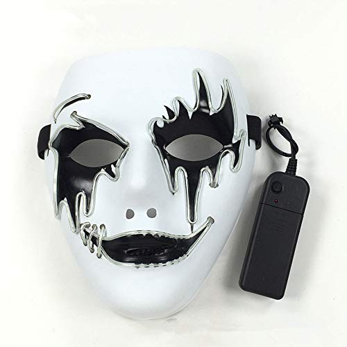 Halloween Glowing Mask Cosplay LED Light Mask Ghost Dance Props(Blue 19188cm/power Switch Button) -