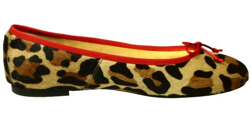 Ballerinas Nairobi aus Fell im Leo-Look Animal-Print mit roter Schleife Grundton Camel Leopard