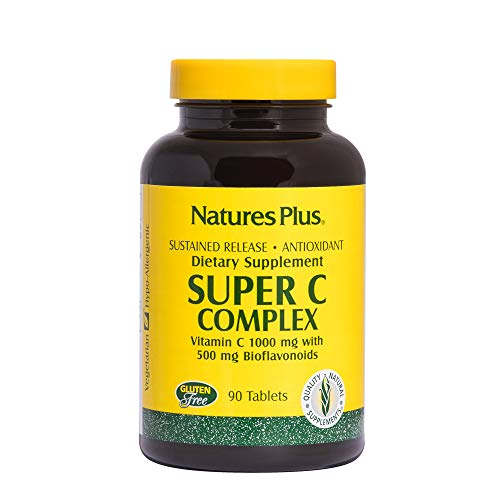 NaturesPlus Super C Complex, Sustained Release - 1000 mg, 90 Vegetarian Tablets - High Potency Immune Support Supplement, Antioxidant - Enhanced Absorption - Gluten-Free - 90 Servings