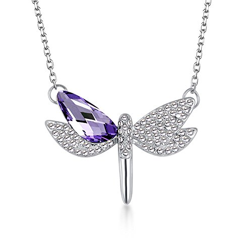 The Starry Night Purple Austrian Crystal Flying Dragonfly Pendant Diamond Accented Silver Lady - Ocean Mall Count