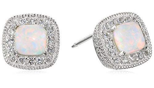 Sterling Silver Created Opal and Created White Sapphire Halo Cushion Stud Earrings (Sterling Earring Created Opal Silver)