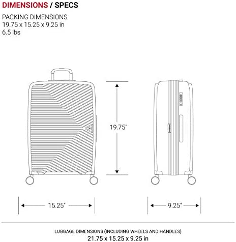 SwissGear 8836 Durable Expandable Spinner Luggage, Black, Carry-On 20-Inch