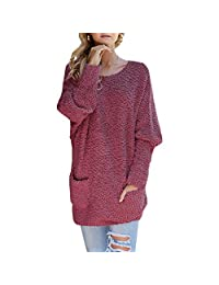 Kelove Women's Casual Fuzzy Batwing Long Sleeve Crew Neck Chunky Knit, Oversized Popcorn Sweater Pullover with Pockets