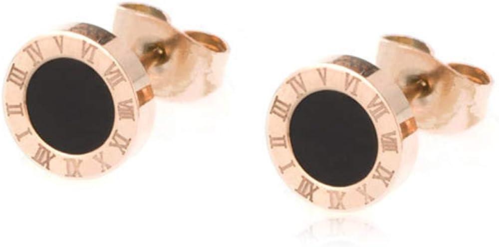Arain Titanium Steel Stud earring Two Tone Round Black Disc Charm Dangle Drop Earrings Hypoallergenic Fashion Earrings for Women Girls