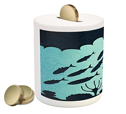 (Lunarable Fish Piggy Bank, A Flock of Fish Shadow with Ornaments Corals and Reefs Aquatic Nature Image, Printed Ceramic Coin Bank Money Box for Cash Saving, Turquoise Dark Blue)