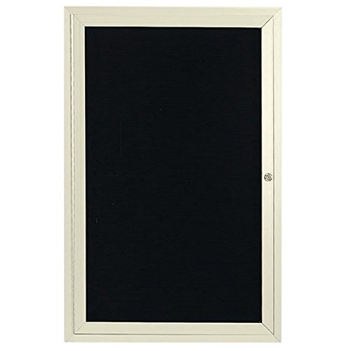 TableTop King OADC2412IV 24'' x 12'' Enclosed Hinged Locking 1 Door Powder Coated Ivory Aluminum Outdoor Directory Board with Black Letter Board