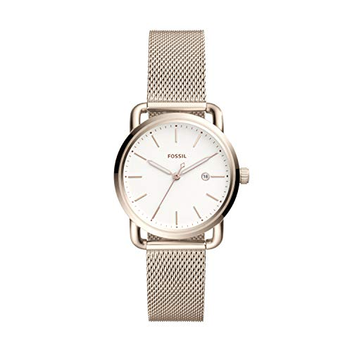 (Fossil Women's Commuter Quartz Stainless Steel Mesh Casual Watch Color: Pink Gold (Model: ES4349))