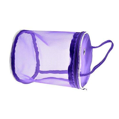 Knitting Tote Bag Portable Transparent Mesh Zipper Yarn Organizer Yarn Supplies Bag for Knitting & Crocheting (Purple)