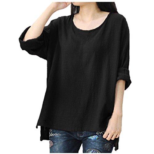 ocasionales tops XXXXL camisetas L manga tamaño grande larga blusas Negro OverDose para suaves flojos mujer Y4xSaan0