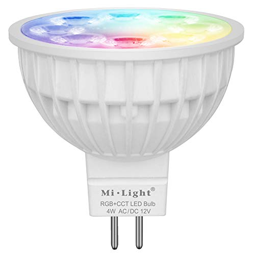 Mi.Light 4W MR16 Led 2.4GHz Bulb Spotlight GU5.3 Socket AC/DC 12V RGB+CCT Color And Temperature Changeable Dimmable.(Remote,Wall Panel And iBox1 & iBox2 Bridge Hub Is All Sold Separately)