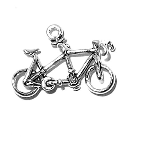 925 Sterling Silver Vinatge Couple'S 2 Seat Tandem Bicycle Pendant Charm