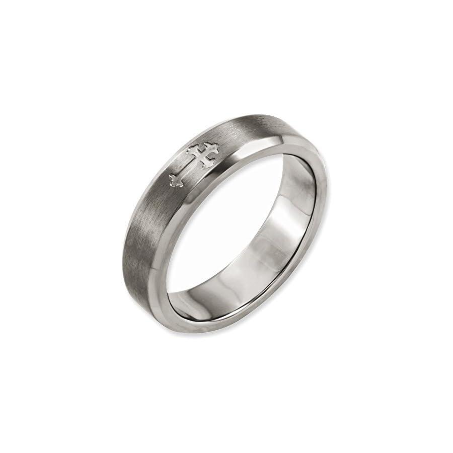 Jewelry Adviser Rings Titanium Cross Design 6mm Satin Beveled Edge Band