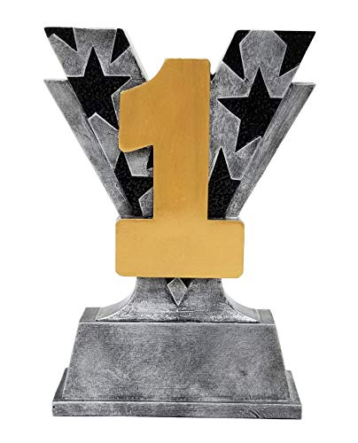 Decade Awards 1st Place Victory Trophy  First Place Silver V Award | 6 Inch Tall - Free Engraved Plate on Request ()
