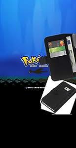 // PHONE CASE GIFT // Moda Estuche Funda de Cuero Billetera Tarjeta de crédito dinero bolsa Cubierta de proteccion Caso Samsung Galaxy S6 EDGE / Poke Monster Silver Version /