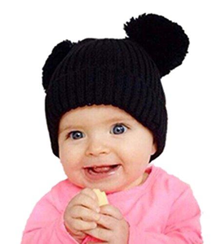 [TAORE Cute Winter Baby Kids Girls Boys Warm Woolen Caps Hats (Black)] (Cute Elf Costumes For Kids)