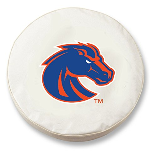 Boise State Tire Cover - Boise State Broncos HBS White Vinyl Fitted Spare Car Tire Cover (27