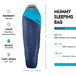 WINNER OUTFITTERS Mummy Sleeping Bag with Compression Sack, It's Portable and Lightweight for 3-4 Season Camping, Hiking, Traveling, Backpacking and Outdoor Activities(Navy Blue,4.5lbs)