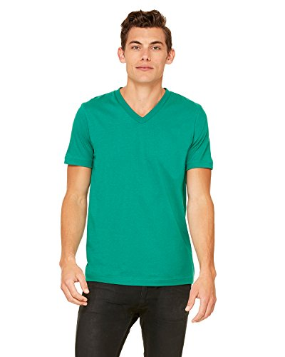 Bella Canvas Comfortable V-Neck Soft Fitted Jersey T-Shirt, Kelly, XX-Large